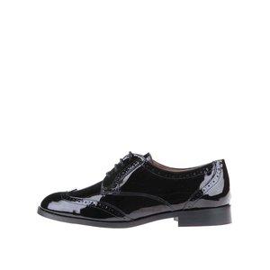 Pantofi Brogue de piele neagră lucioasă OJJU
