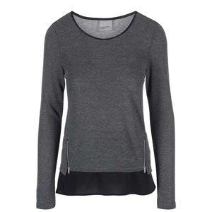 Tricou cu mânecă lungă și fermoare decorative Vero Moda Tessa - gri închis