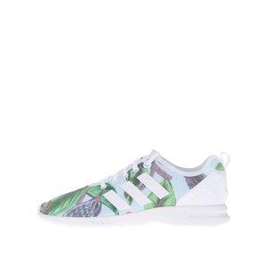 Pantofi sport de damă cu imprimeu verde și alb Adidas Originals ZX Flux
