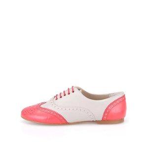 Pantofi Brogue din piele roz și gri OJJU