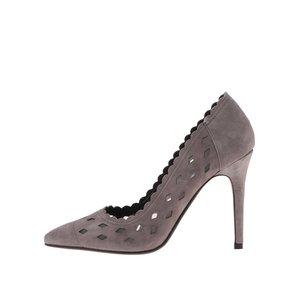 Pantofi cu toc gri din piele perforată Dune London Bessie