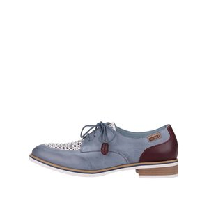Pantofi din piele albaștri cu detalii roșii Pikolinos Royal