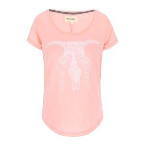 Tricou roz cu imprimeu Rebel Desires Terkild