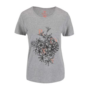 Tricou Roxy gri cu imprimeu floral