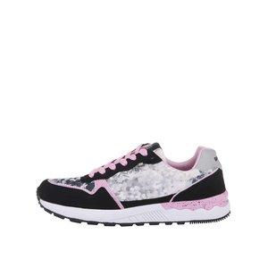 Pantofi sport Bassed negri cu imprimeu