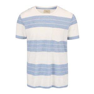 Tricou Selected Marl crem cu dungi albastre