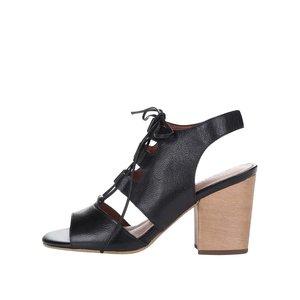 Sandale Tamaris negre din piele cu toc