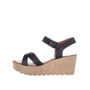 Sandale cu platformă negre din piele