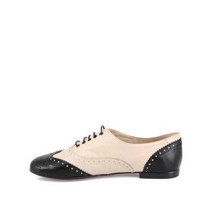 Pantofi cu șireturi, din piele, negru cu crem, OJJU