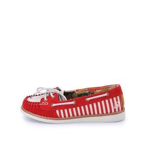 Pantofi gri cu roșu din piele Chloe Brakeburn