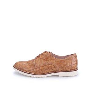 Pantofi din piele Tamaris imitație piele de crocodil - maro
