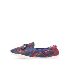 Mocasini din piele, roșu cu albastru, model Shoreditch de la Cocorose London