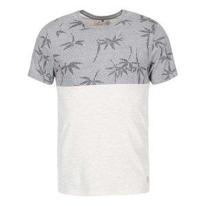 Tricou gri cu imprimeu cu frunze de la Blend