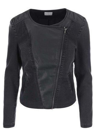 ... - Černá džínová biker bunda s koženkovými detaily Measy - 1
