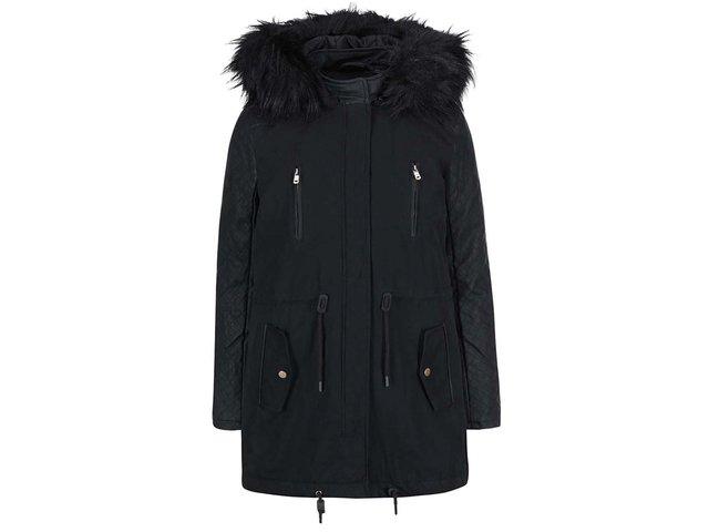 Černá parka s koženkovými rukávy a kožíškem ONLY New Demi