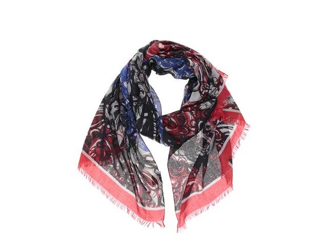 Červeno-modro-černý vzorovaný šátek INVUU London 515b08adb3