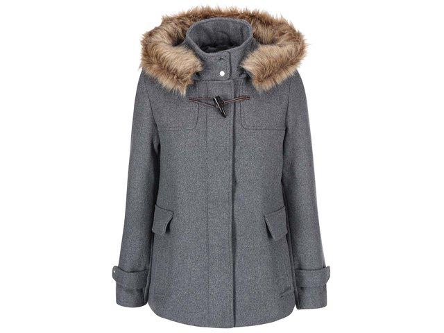 Šedý kabát s kapucí Vero Moda Camille