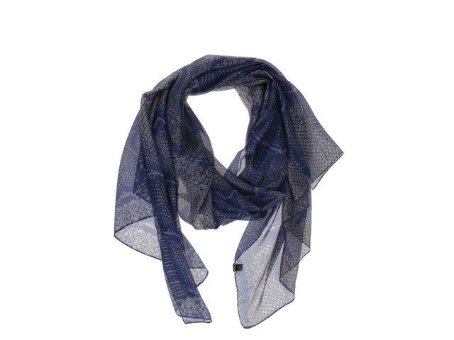 Šedo-modrý vzorovaný šátek INVUU London