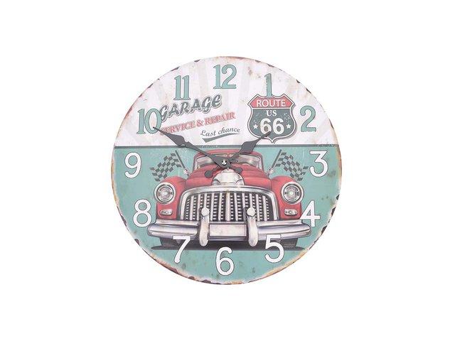 Bílo-tyrkysové dřevěné hodiny Dakls Garage