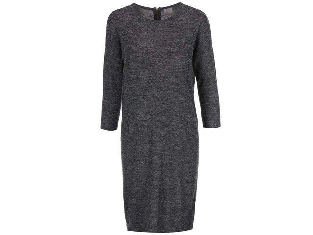 Tmavě šedé šaty s 3/4 rukávem Vero Moda Clementine