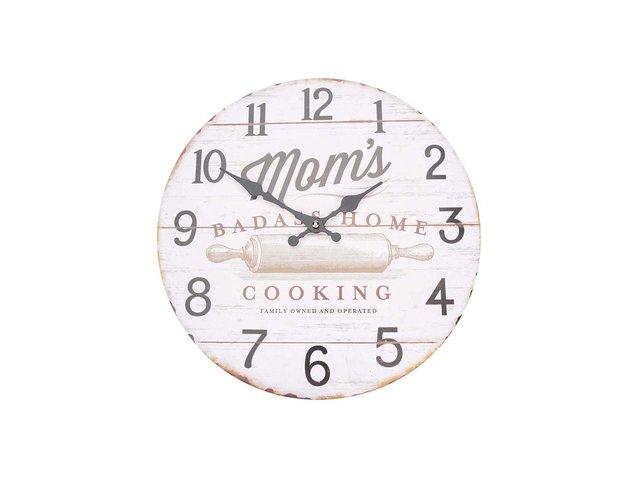 Krémové dřevěné hodiny Dakls Mom´s
