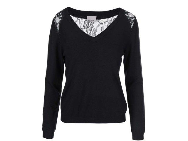 Černý svetr s krajkou na zádech Vero Moda Glory