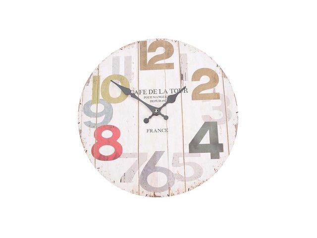 Krémové dřevěné hodiny Dakls Café de La Tour