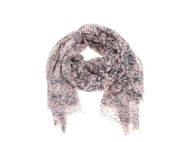 Světle růžový šátek s černým vzorem Vero Moda Seal