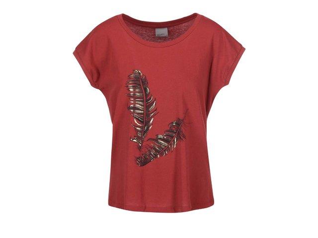 Červené tričko s pírky Vero Moda Feather