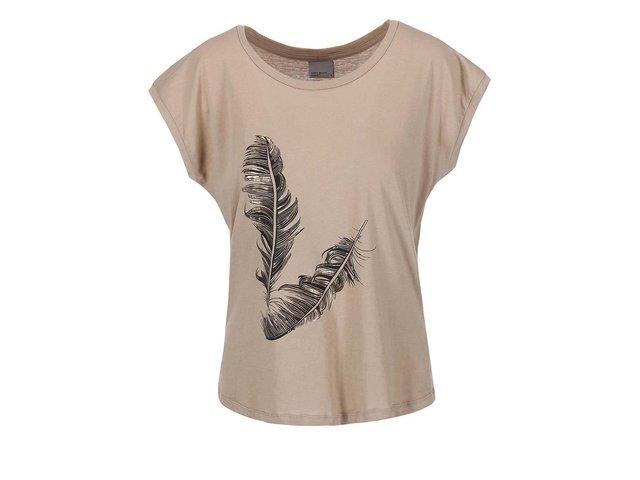 Béžové tričko s pírky Vero Moda  Feather
