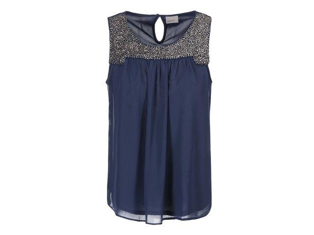 Tmavě modrá halenka se zdobeným dekoltem Vero Moda Trisha