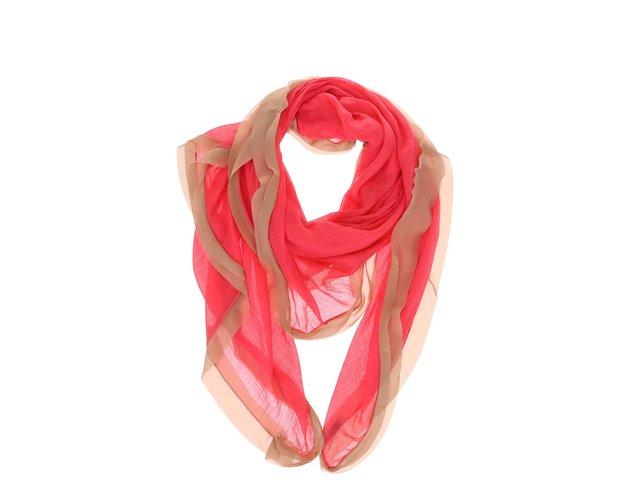 Růžový šátek s béžovým lemem INVUU London