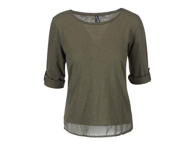 Khaki tričko s 3/4 rukávem Haily´s Vicky