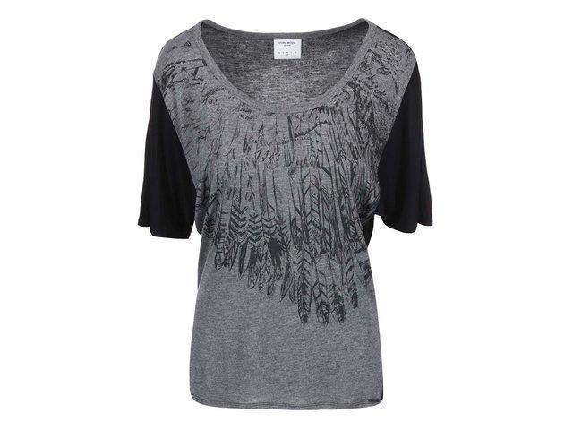 Černo-šedé tričko se vzorem per Vero Moda Pil