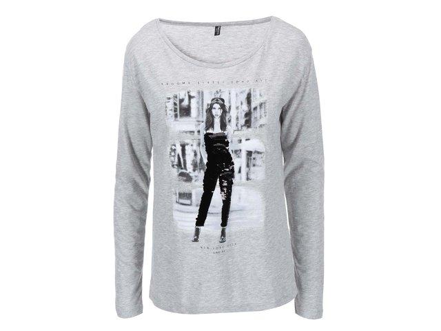 Šedé tričko s potiskem Madonna Sharada
