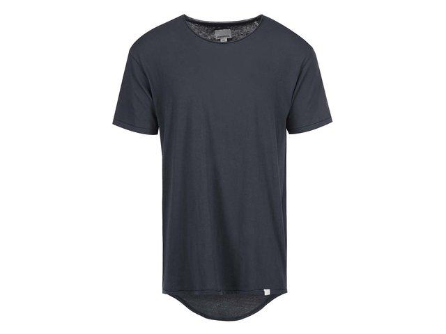Tmavě šedé triko s prodlouženým zadním dílem Shine Original