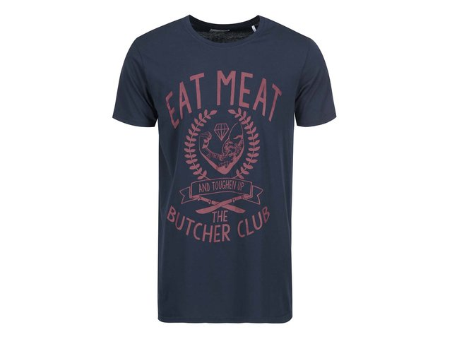 Tmavě modré triko s potiskem Shine Original Eat Meat