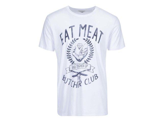 Bílé triko s potiskem Shine Original Eat Meat