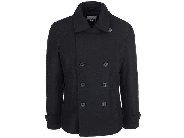 Černý vlněný kabát Shine Original Pea