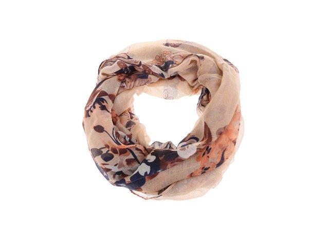 Béžový květovaný dutý šátek Madonna Pairose