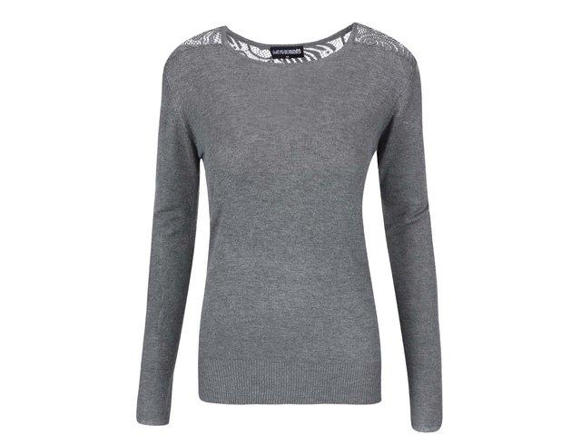 Šedé tričko s krajkovými rameny Haily´s Cora