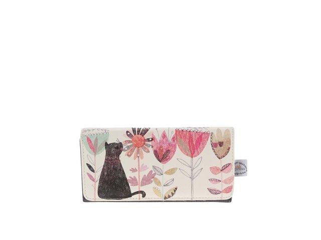 Šedo-krémová peněženka s potiskem Disaster Garden Cat
