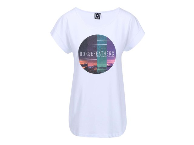 Bílé dámské triko s potiskem Horsefeathers Faraway