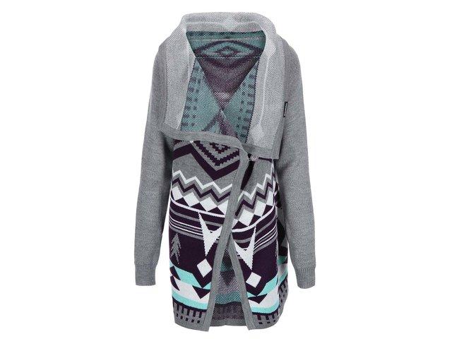 Fialovo-šedý dámský delší cardigan se vzory Horsefeathers Autumn