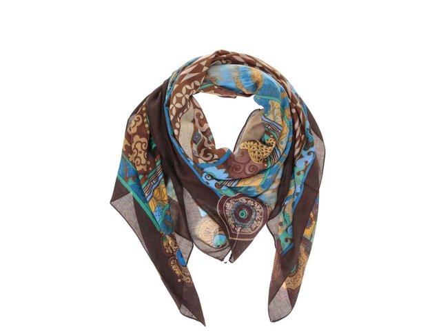 Modro-hnědý vzorovaný šátek INVUU London