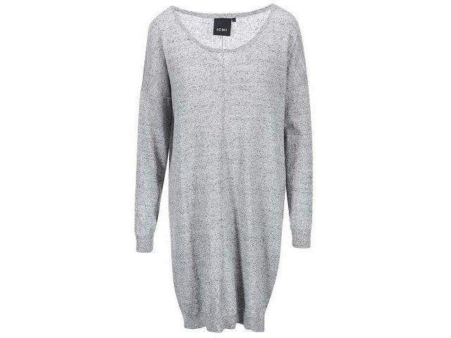 Šedé volnější svetrové šaty  ICHI Malu