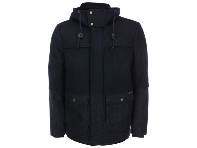 Tmavě modrý vlněný kabát s kapucí ONLY & SONS Shaw