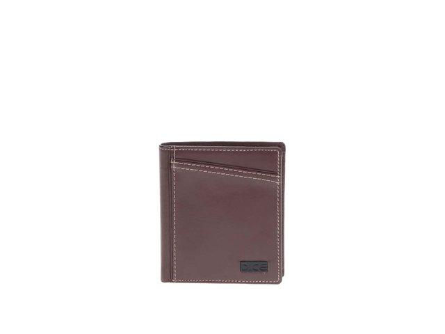 Hnědá kožená peněženka s prošíváním Dice Brody