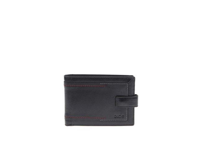 Černá kožená peněženka s červeno-šedým prošíváním Dice James