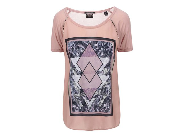 Růžové tričko s potiskem Maison Scotch